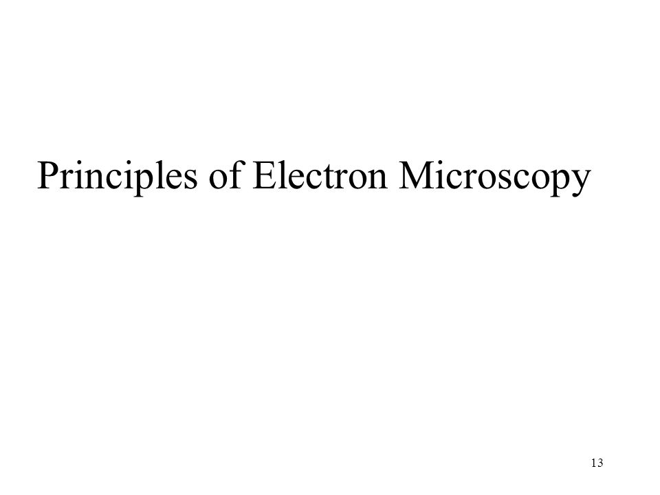 Principles of Electron Microscopy