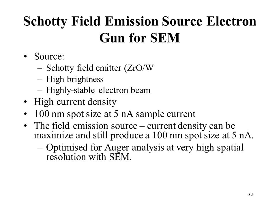 Schotty Field Emission Source Electron Gun for SEM