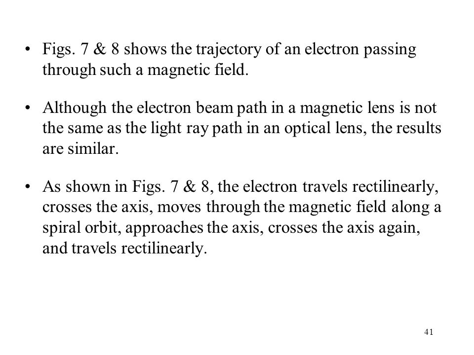 Figs. 7 & 8 shows the trajectory of an electron passing through such a magnetic field.