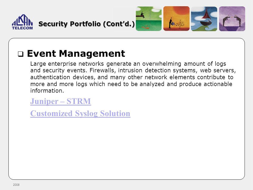 Security Portfolio (Cont'd.)