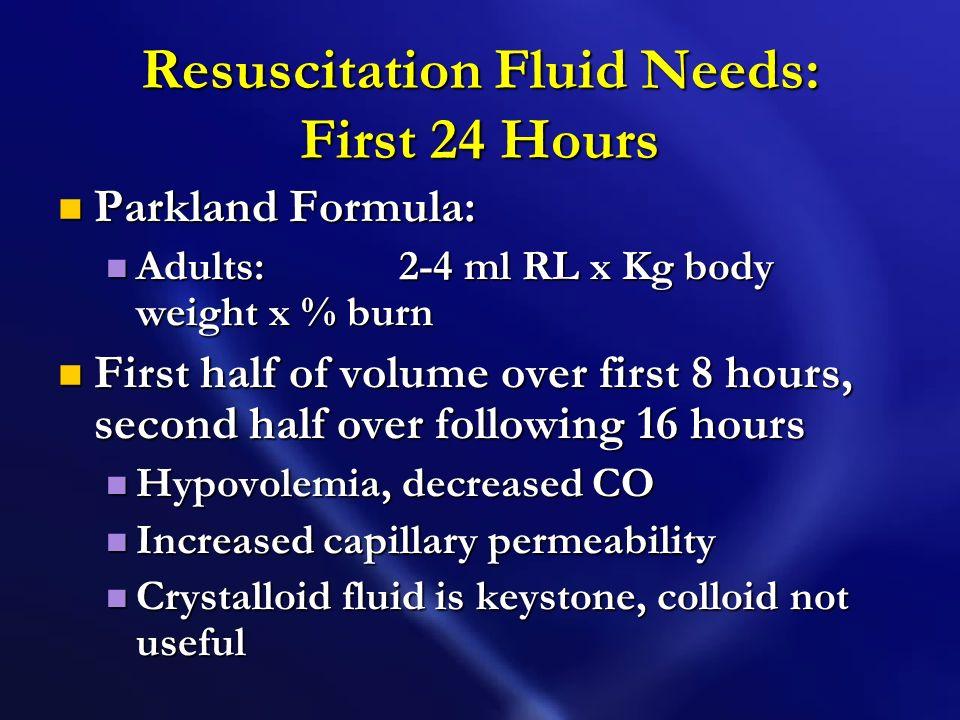 Resuscitation Fluid Needs: First 24 Hours