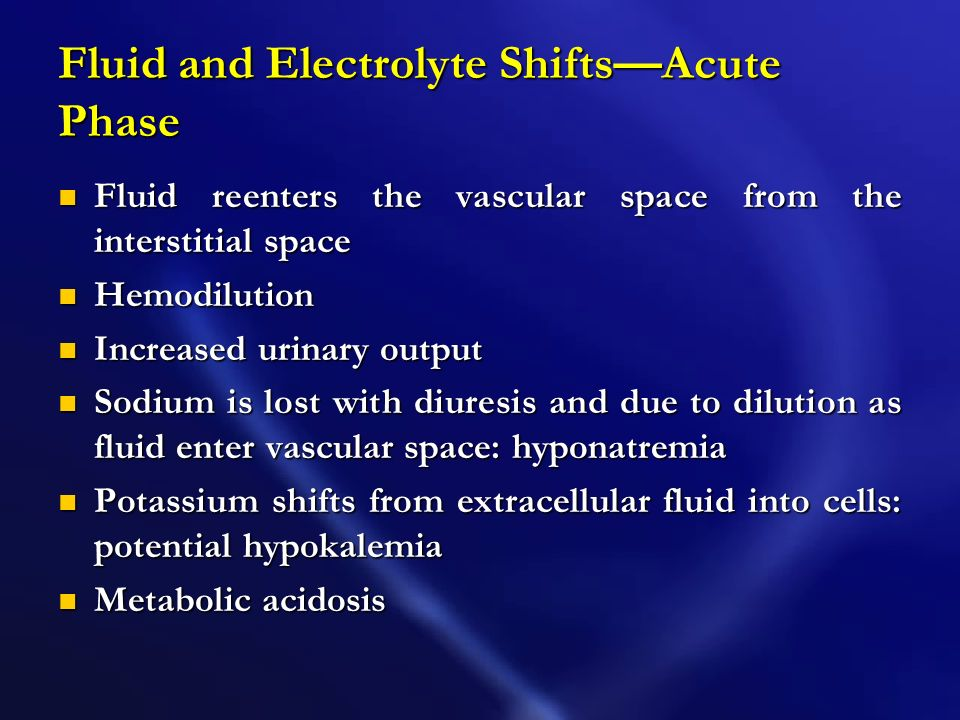 Fluid and Electrolyte Shifts—Acute Phase