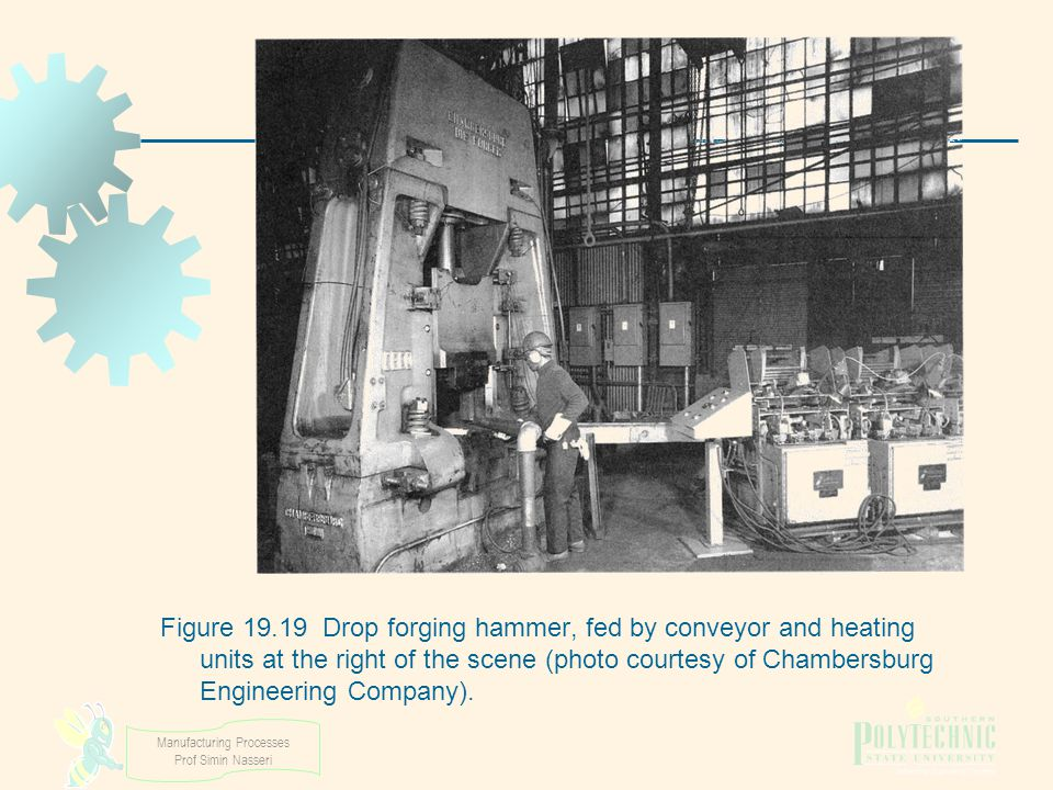 Figure 19.19 Drop forging hammer, fed by conveyor and heating units at the right of the scene (photo courtesy of Chambersburg Engineering Company).