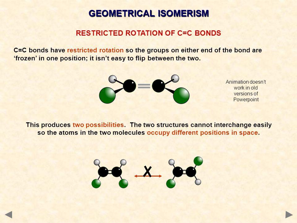 GEOMETRICAL ISOMERISM RESTRICTED ROTATION OF C=C BONDS