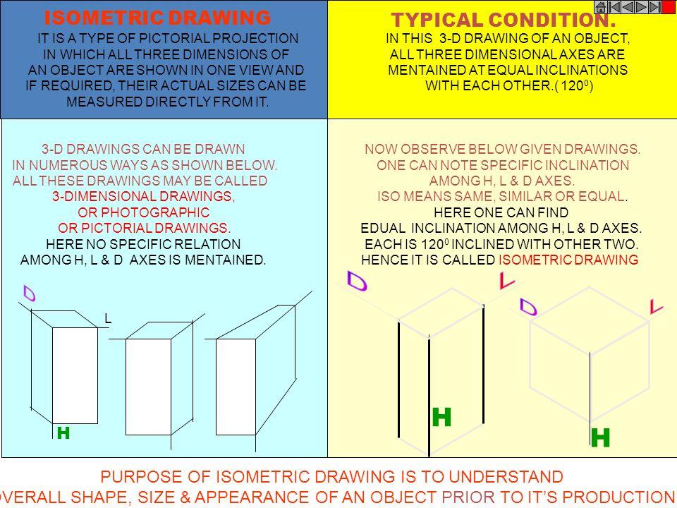 H H D D D ISOMETRIC DRAWING TYPICAL CONDITION. L L H