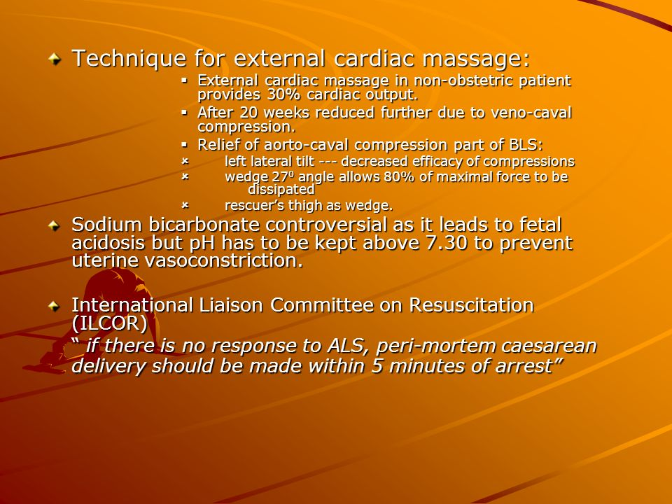 Technique for external cardiac massage: