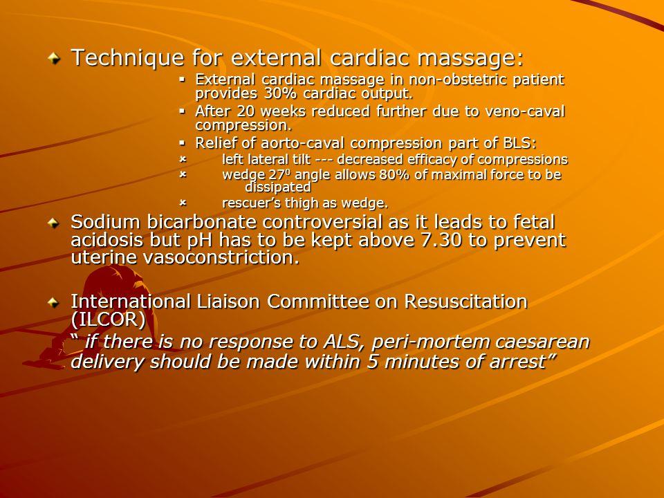 Technique for external cardiac massage: