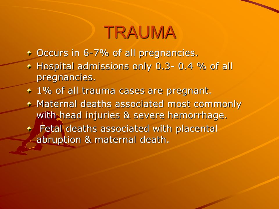 TRAUMA Occurs in 6-7% of all pregnancies.