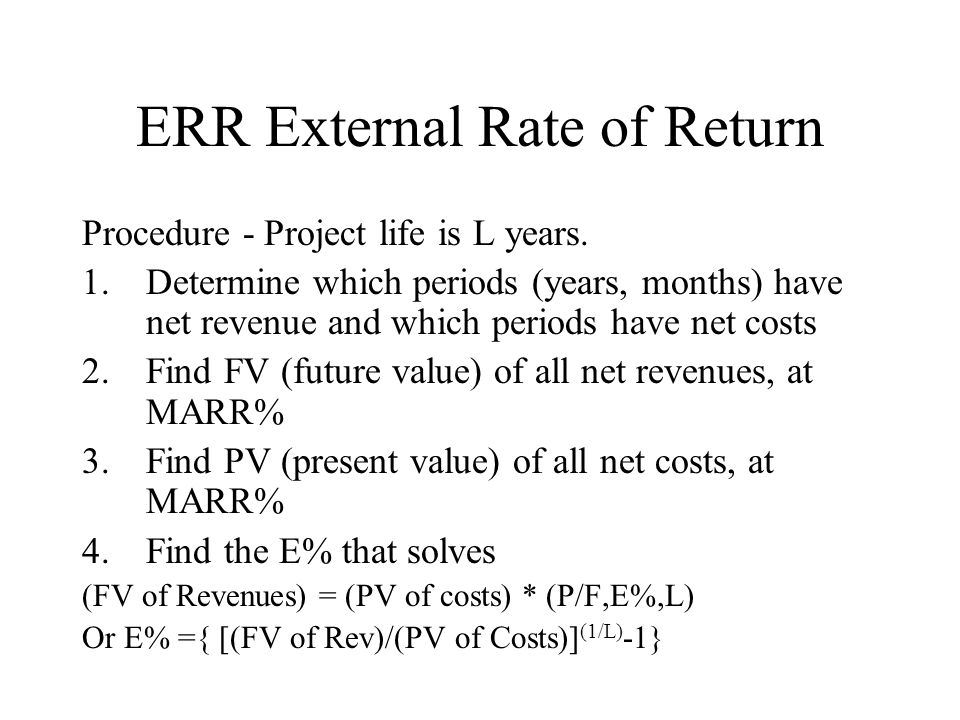 ERR External Rate of Return