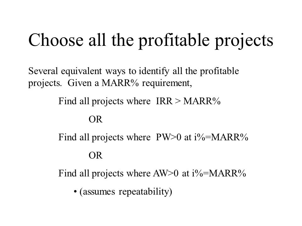 Choose all the profitable projects