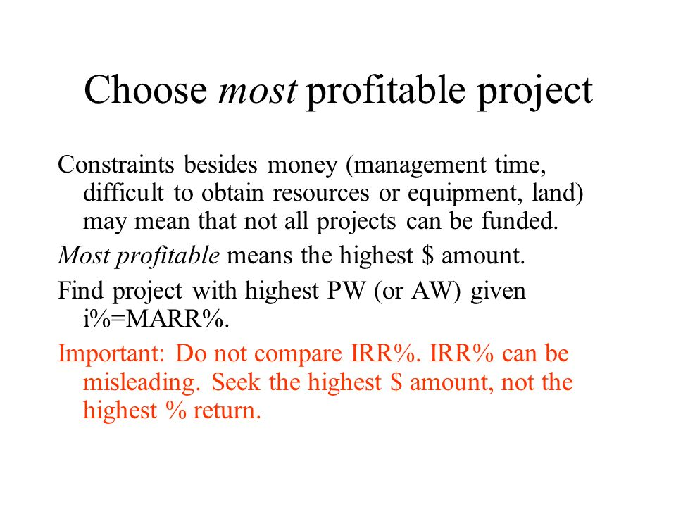 Choose most profitable project