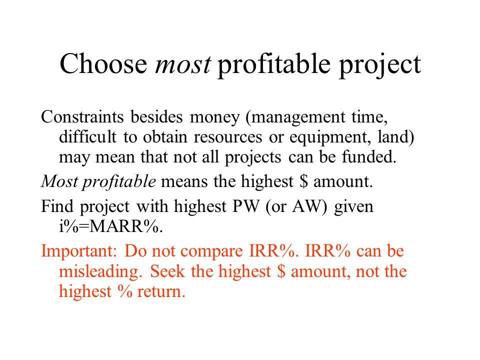 Choose most profitable project