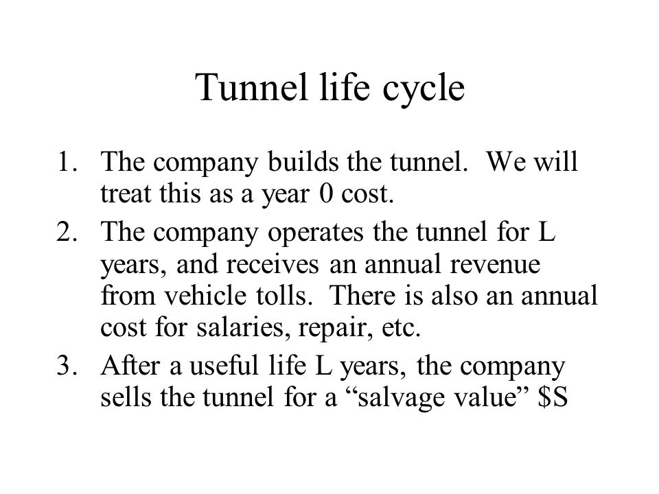 Tunnel life cycle The company builds the tunnel. We will treat this as a year 0 cost.