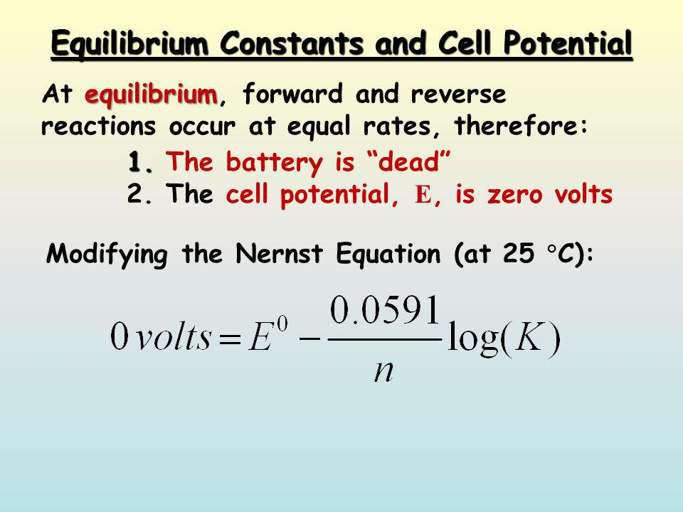 Equilibrium Constants and Cell Potential