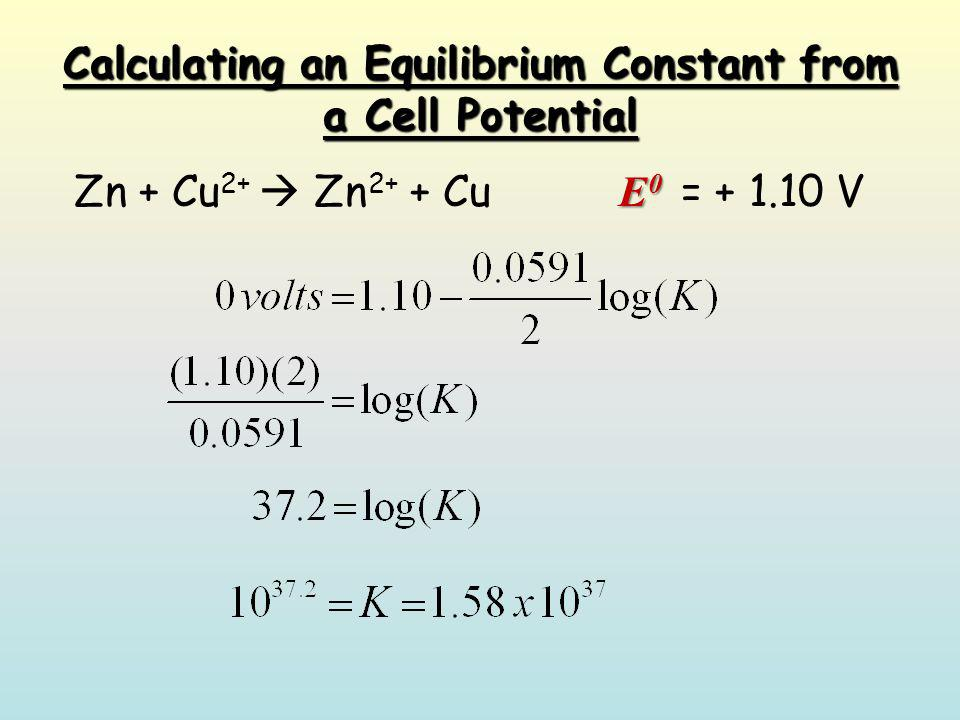 Determining standard reduction potentials equilibrium constants