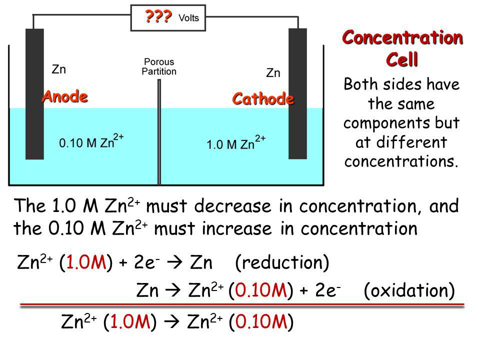 Both sides have the same components but at different concentrations.
