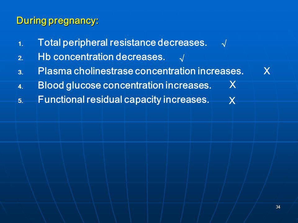 During pregnancy:Total peripheral resistance decreases. Hb concentration decreases. Plasma cholinestrase concentration increases.