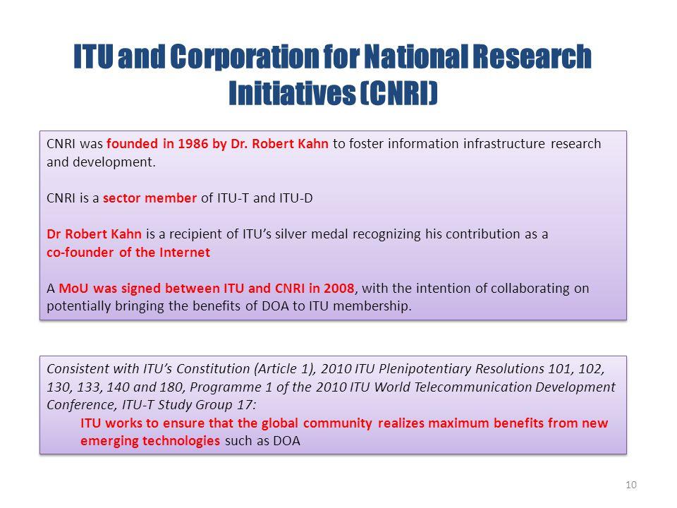 ITU and Corporation for National Research Initiatives (CNRI)