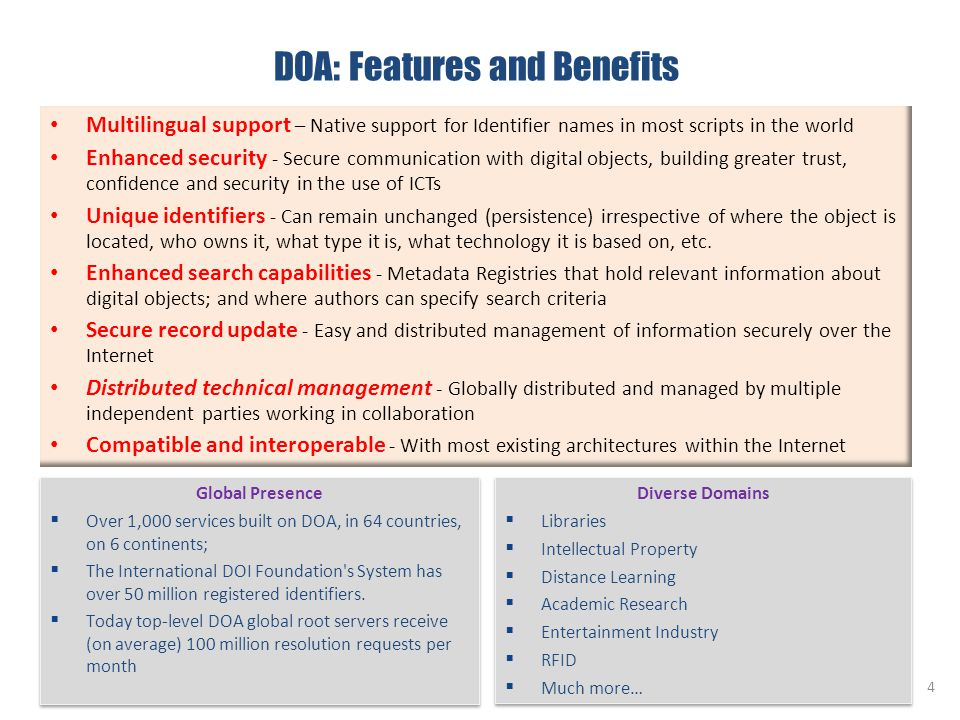 DOA: Features and Benefits