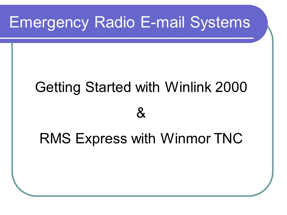 Emergency Radio E-mail Systems