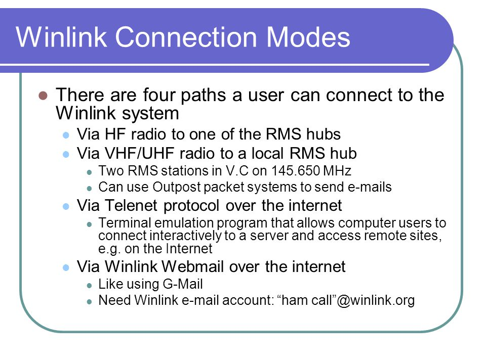 Winlink Connection Modes
