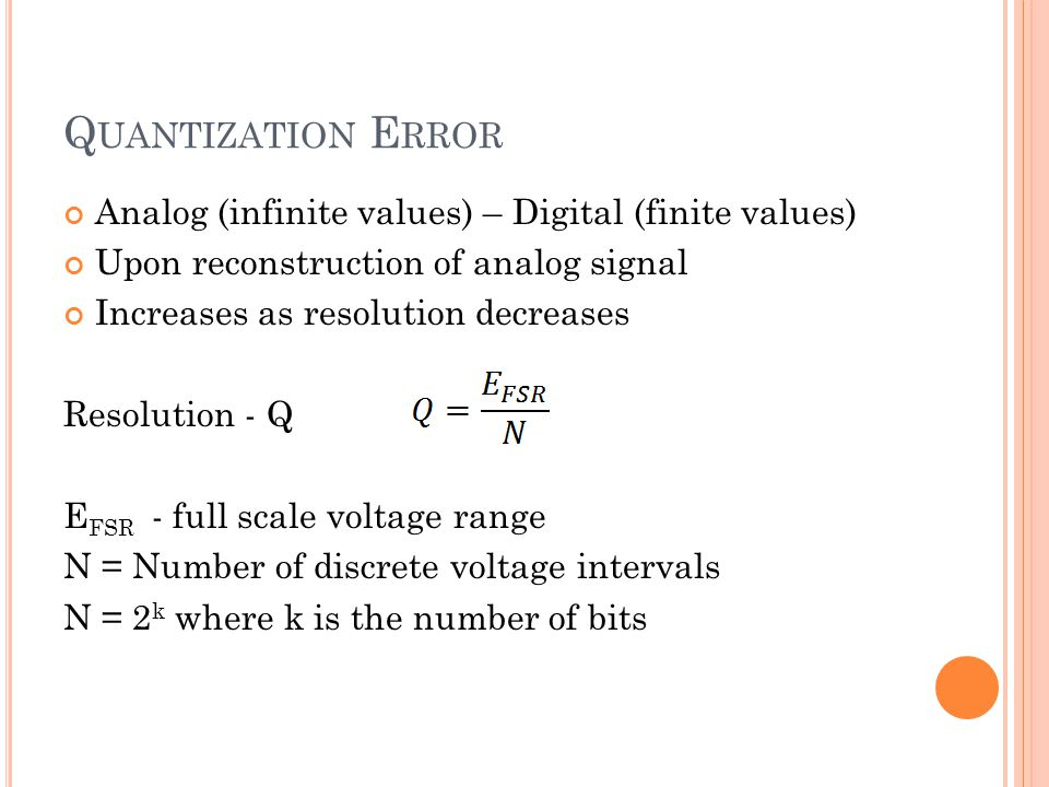 Quantization Error Analog (infinite values) – Digital (finite values)