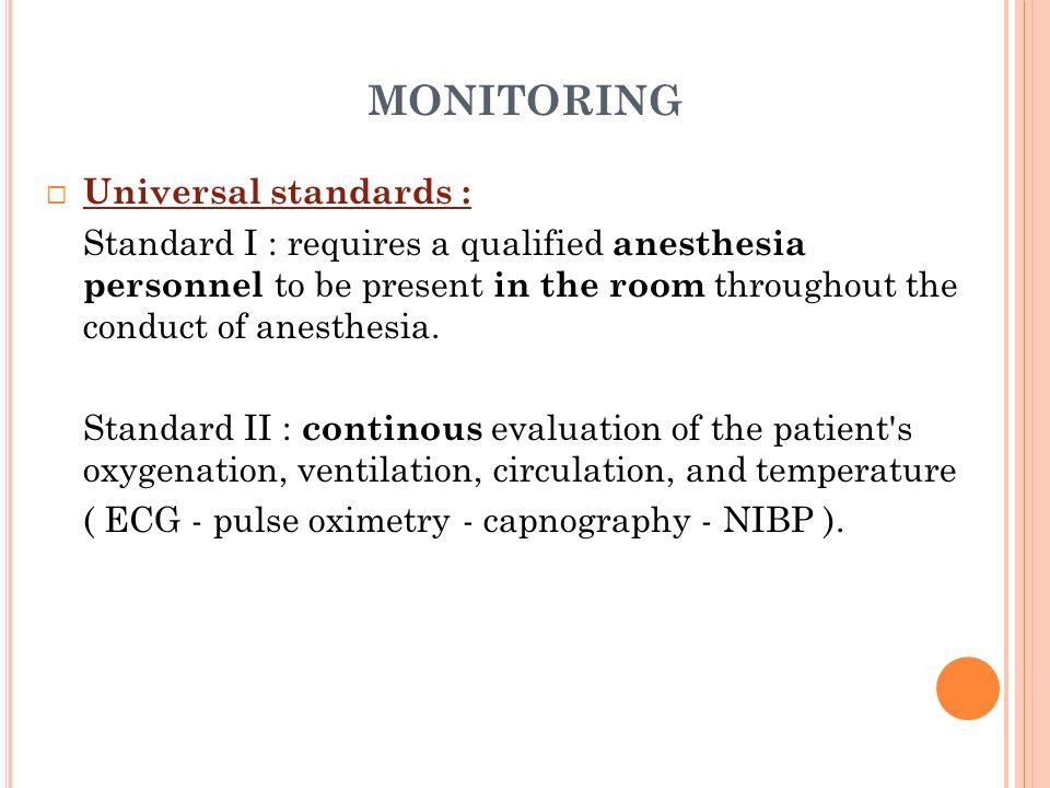 monitoring Universal standards :