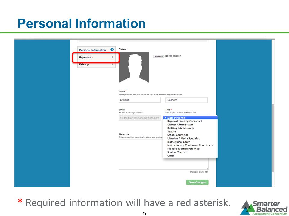 Personal Information * Required information will have a red asterisk.