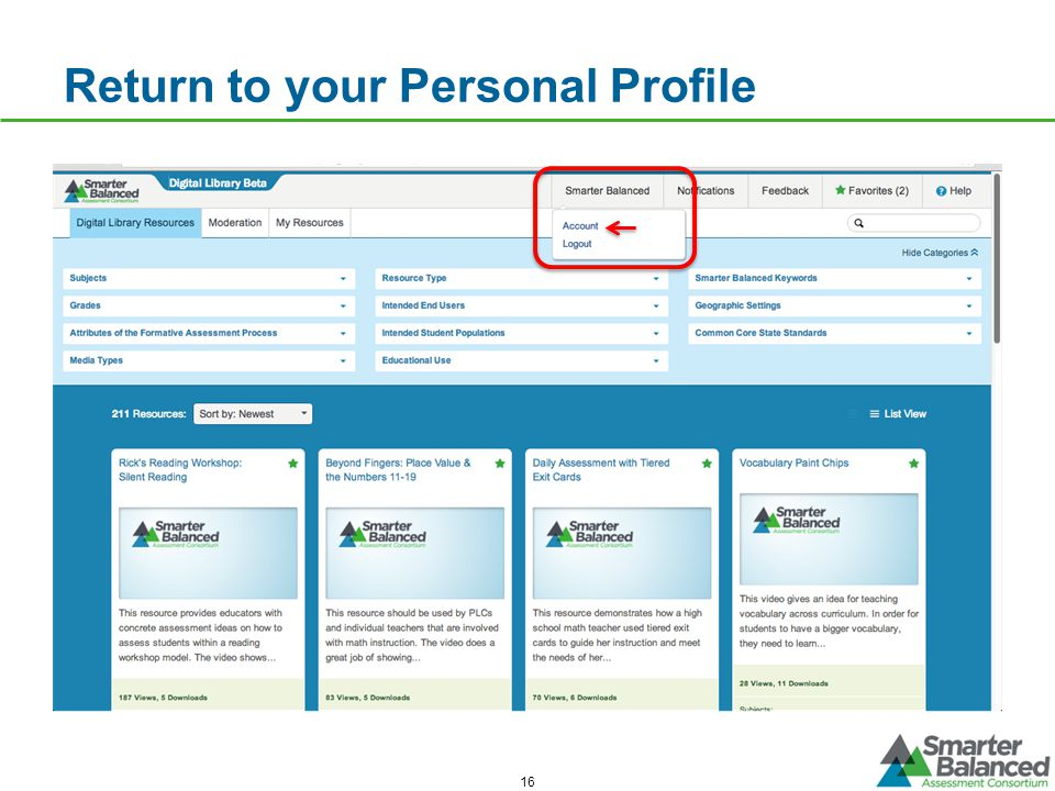 Return to your Personal Profile