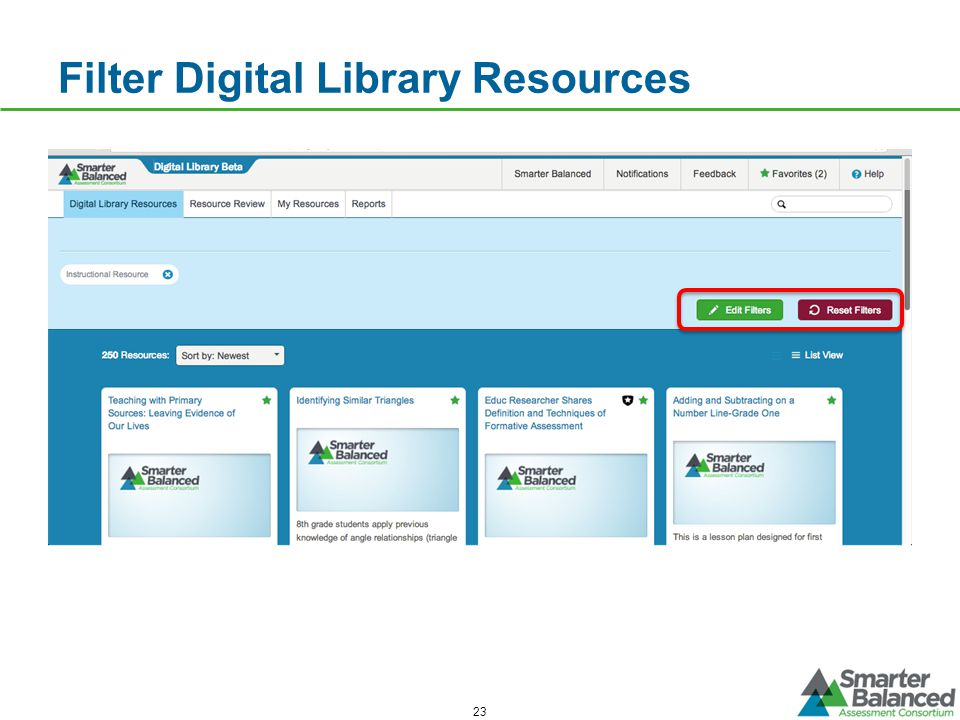 Filter Digital Library Resources