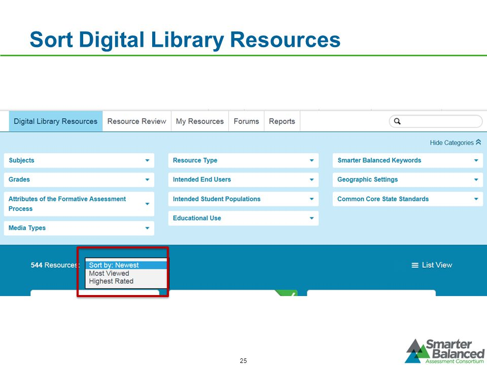 Sort Digital Library Resources