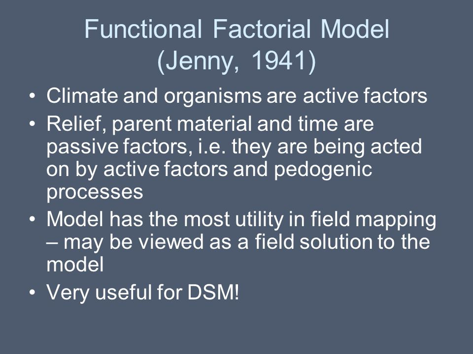 Functional Factorial Model (Jenny, 1941)