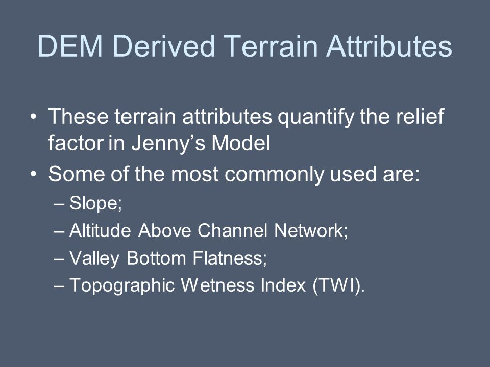 DEM Derived Terrain Attributes