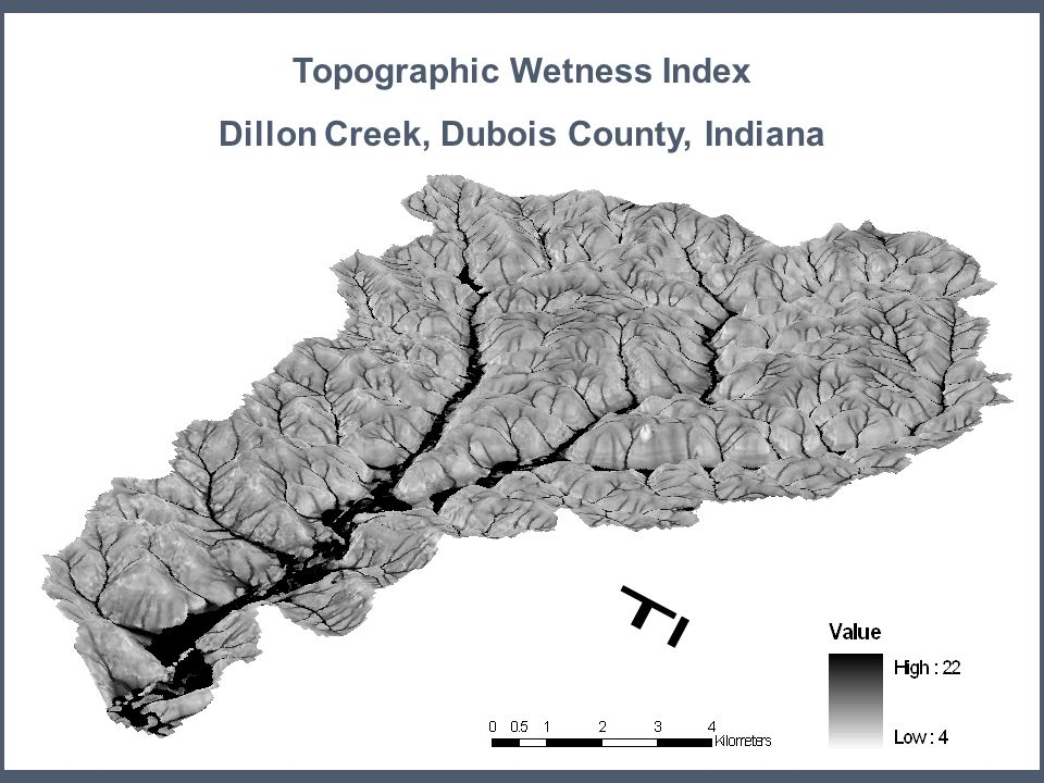 Topographic Wetness Index Dillon Creek, Dubois County, Indiana