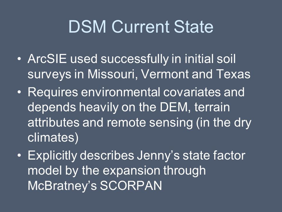 DSM Current State ArcSIE used successfully in initial soil surveys in Missouri, Vermont and Texas.
