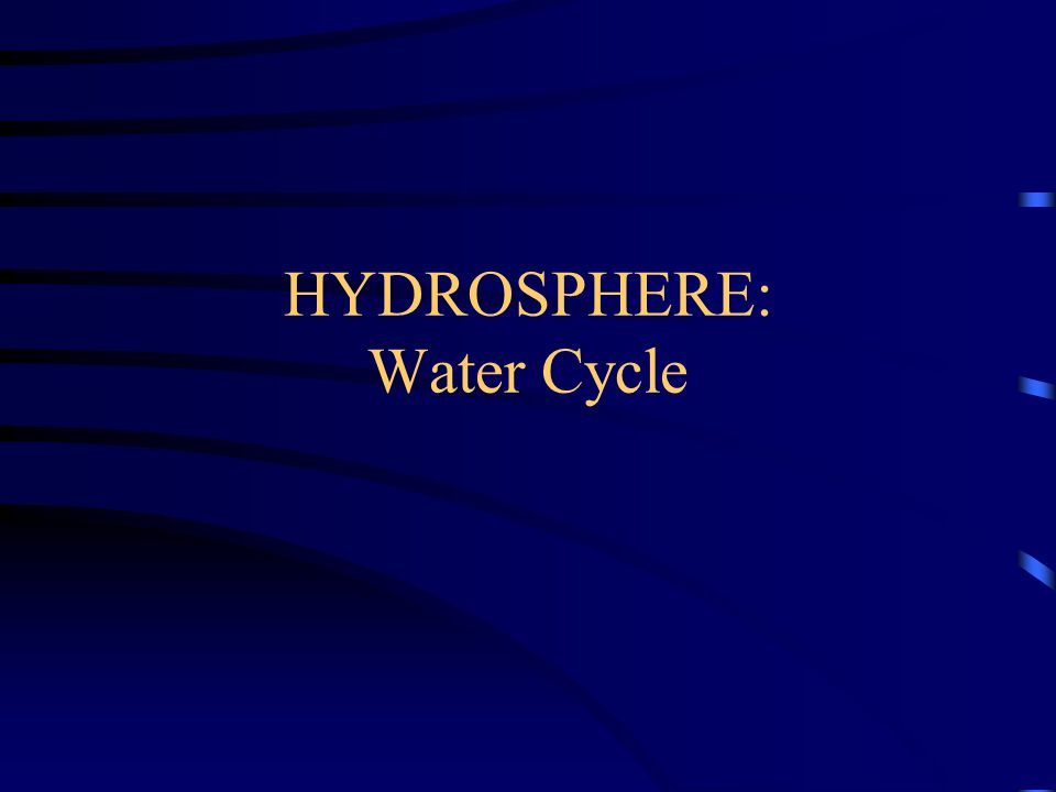 HYDROSPHERE: Water Cycle