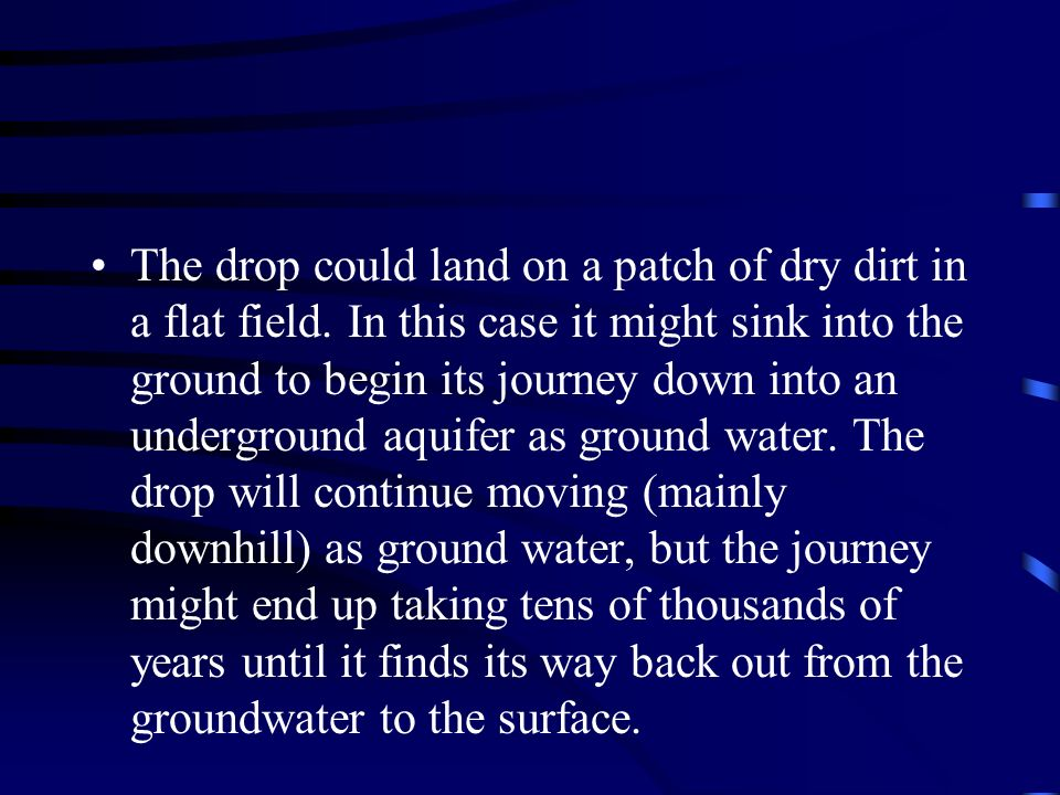 The drop could land on a patch of dry dirt in a flat field