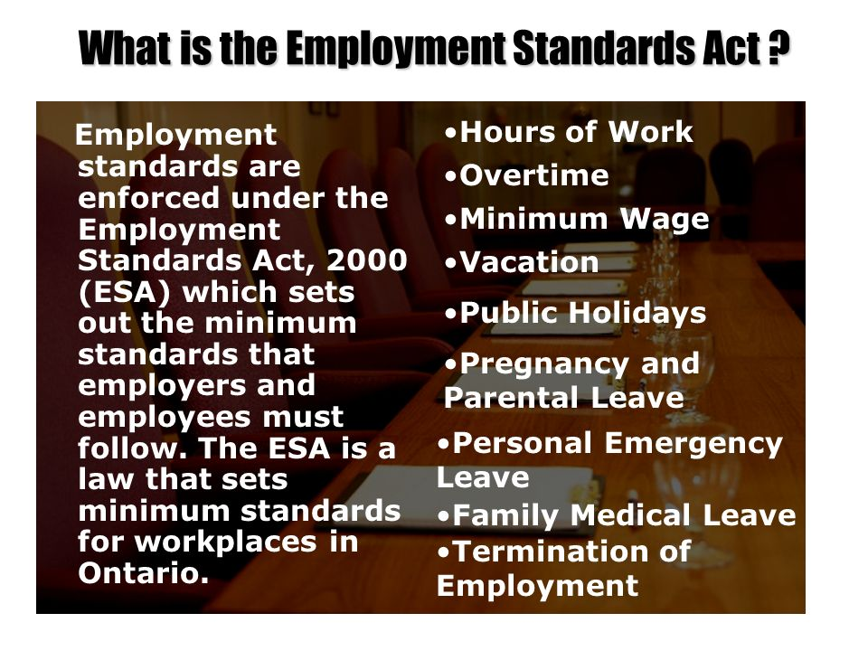 What is the Employment Standards Act