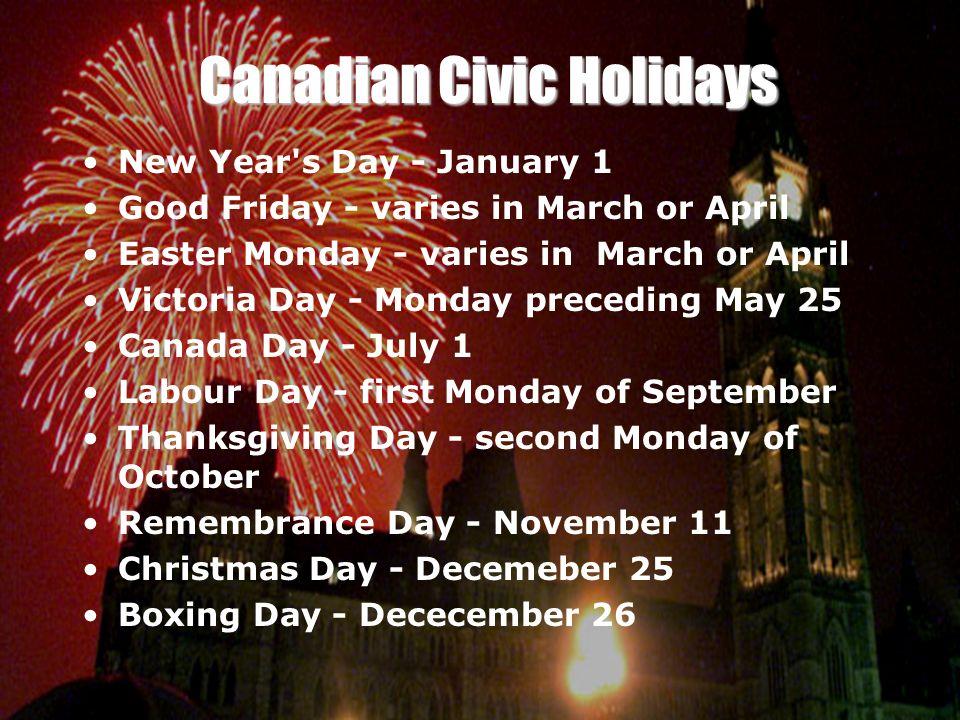 Canadian Civic Holidays