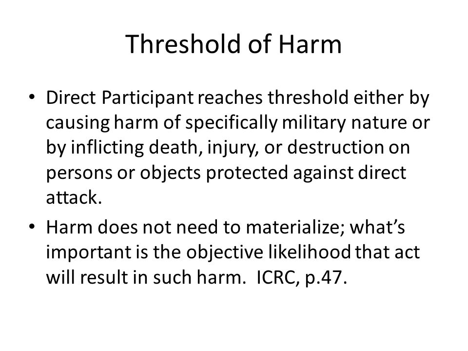 Threshold of Harm