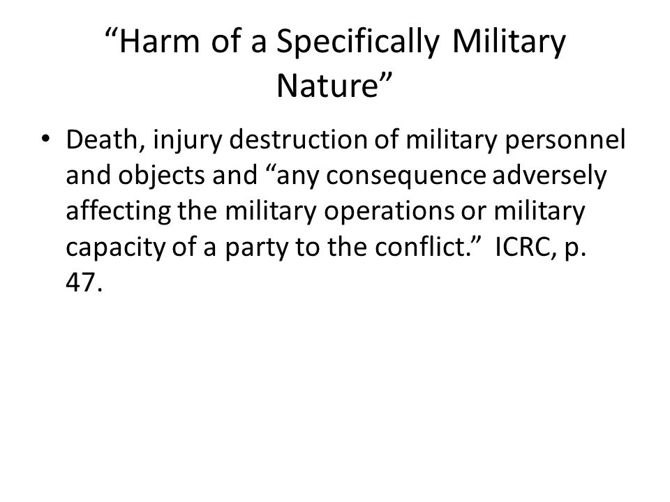 Harm of a Specifically Military Nature