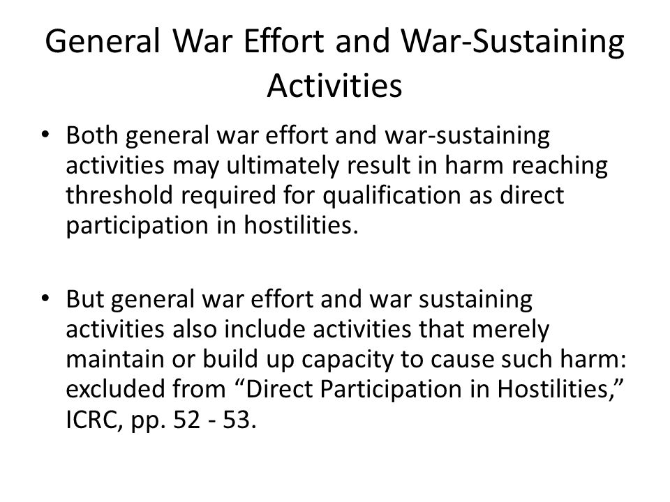General War Effort and War-Sustaining Activities