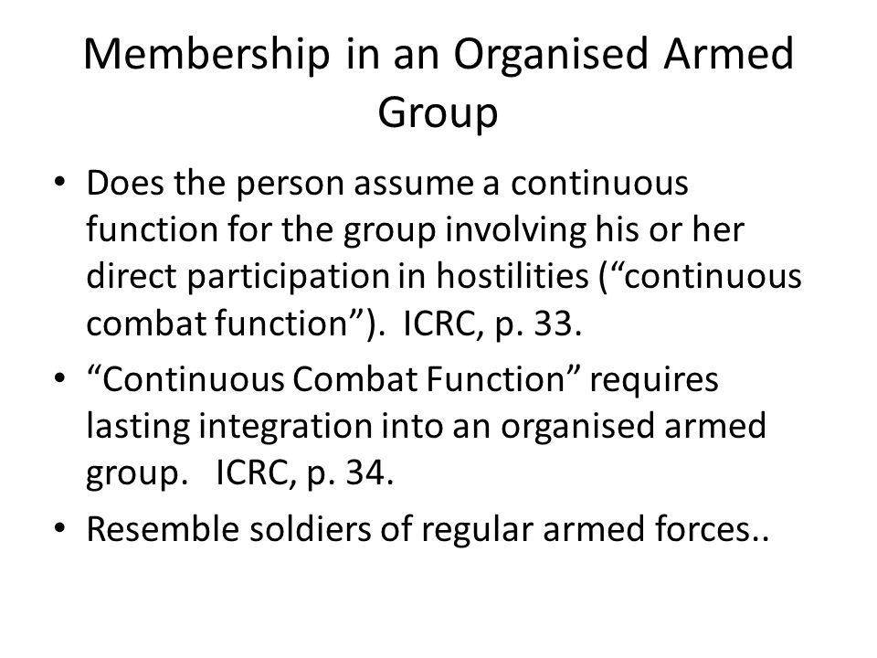 Membership in an Organised Armed Group