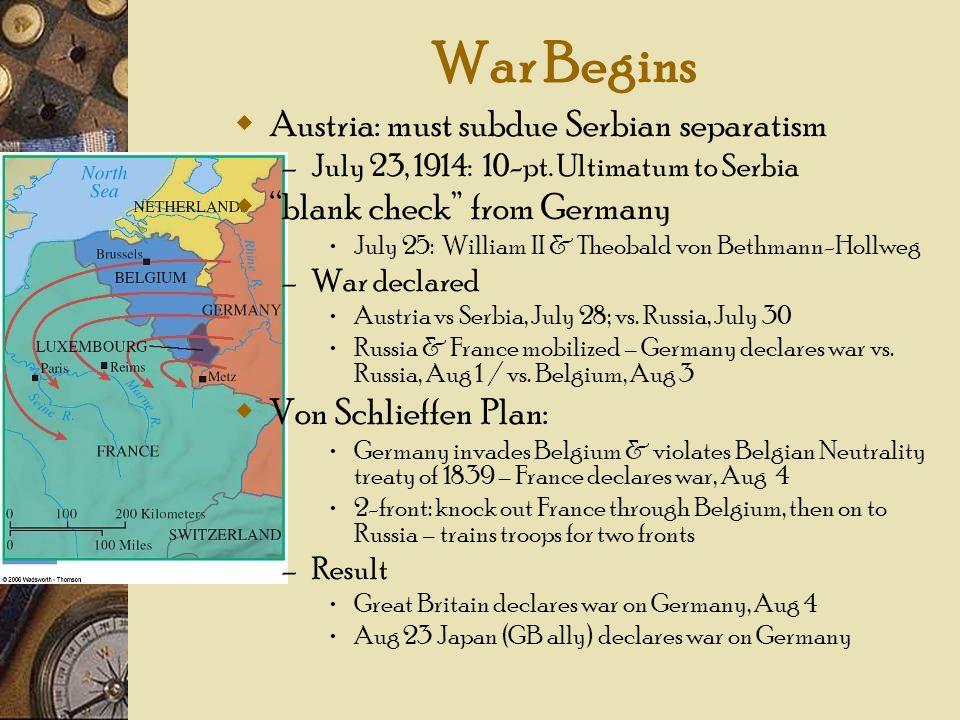 War Begins Austria: must subdue Serbian separatism