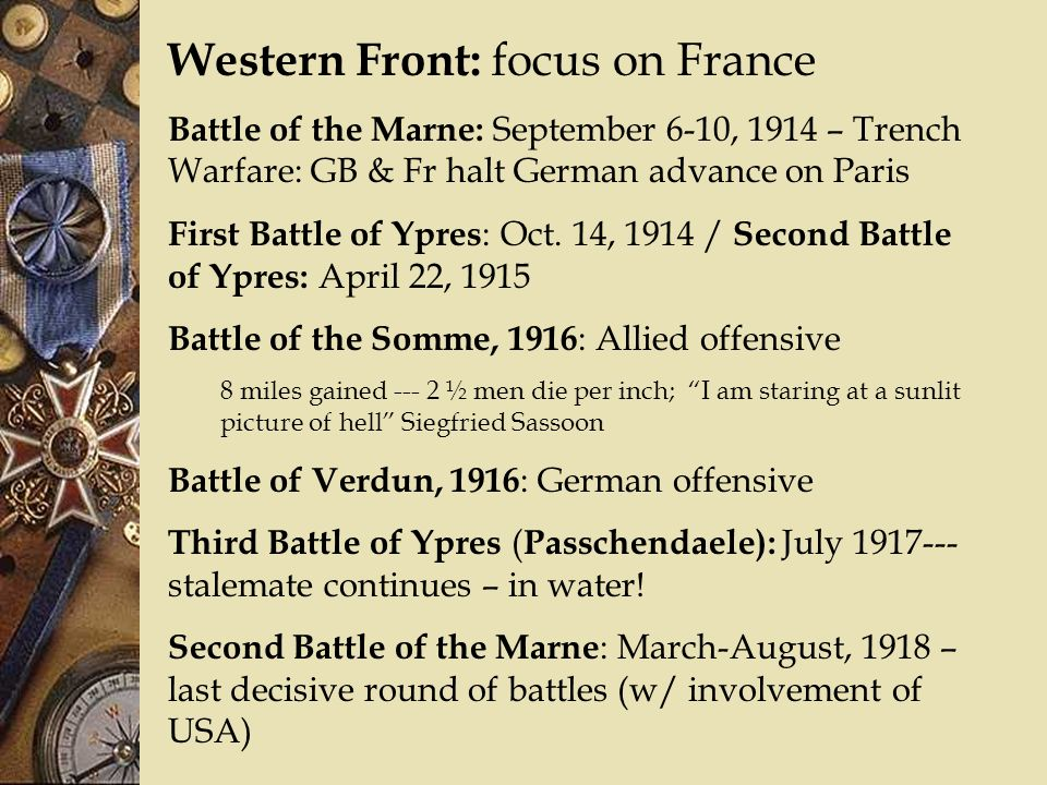 Western Front: focus on France