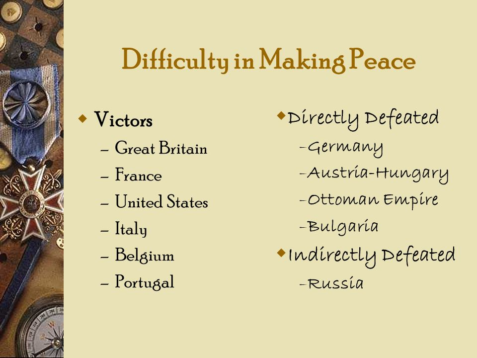 Difficulty in Making Peace