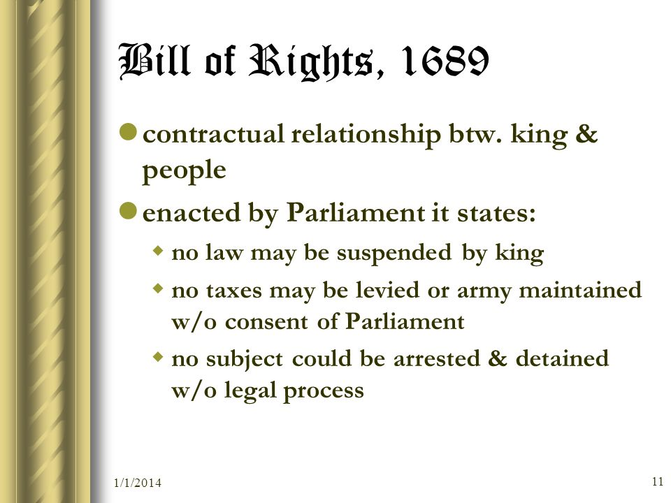 Bill of Rights, 1689 contractual relationship btw. king & people