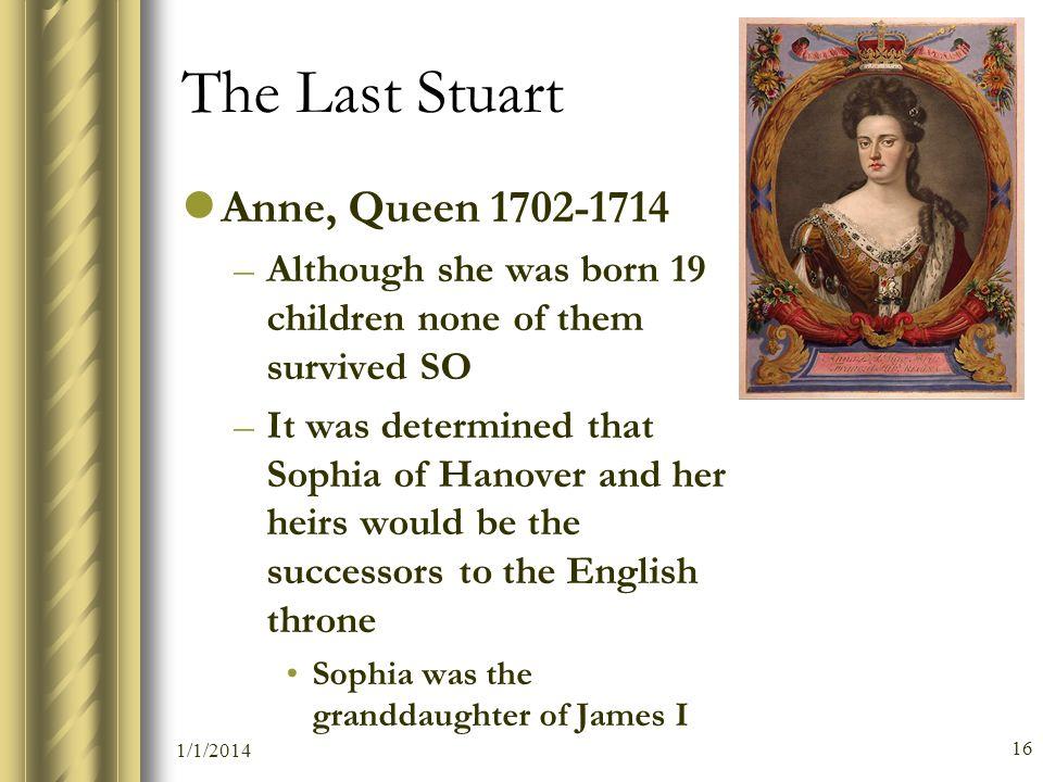 The Last Stuart Anne, Queen 1702-1714