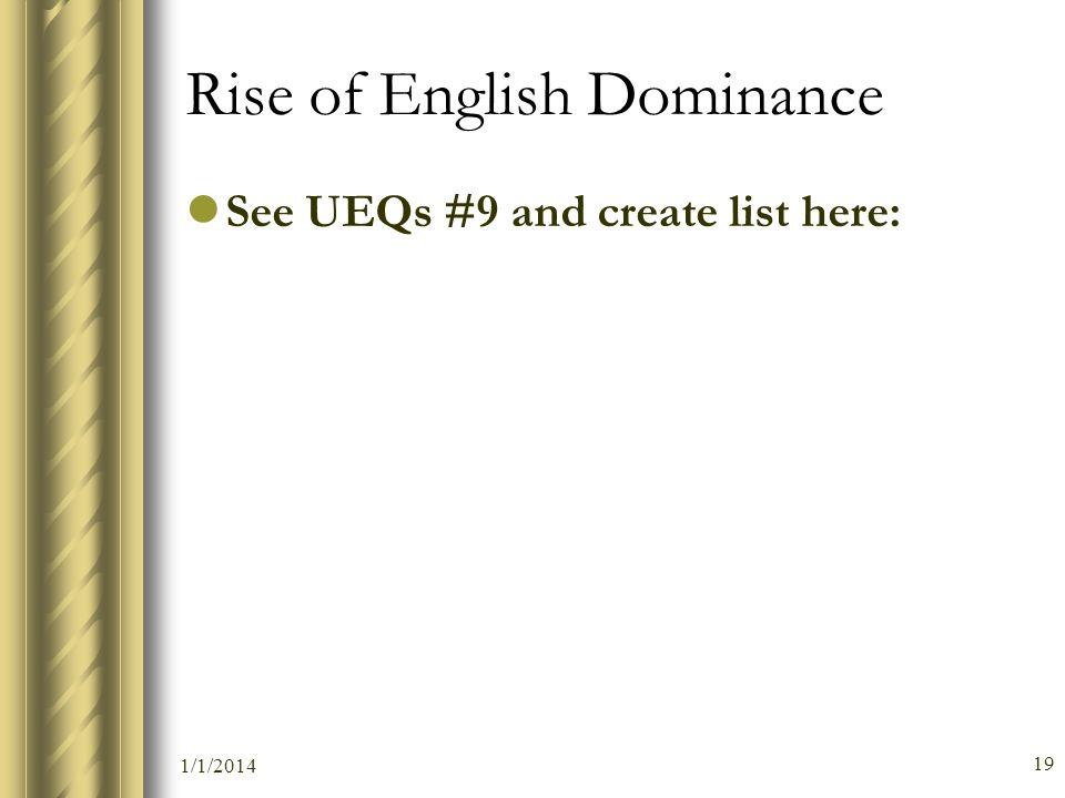 Rise of English Dominance