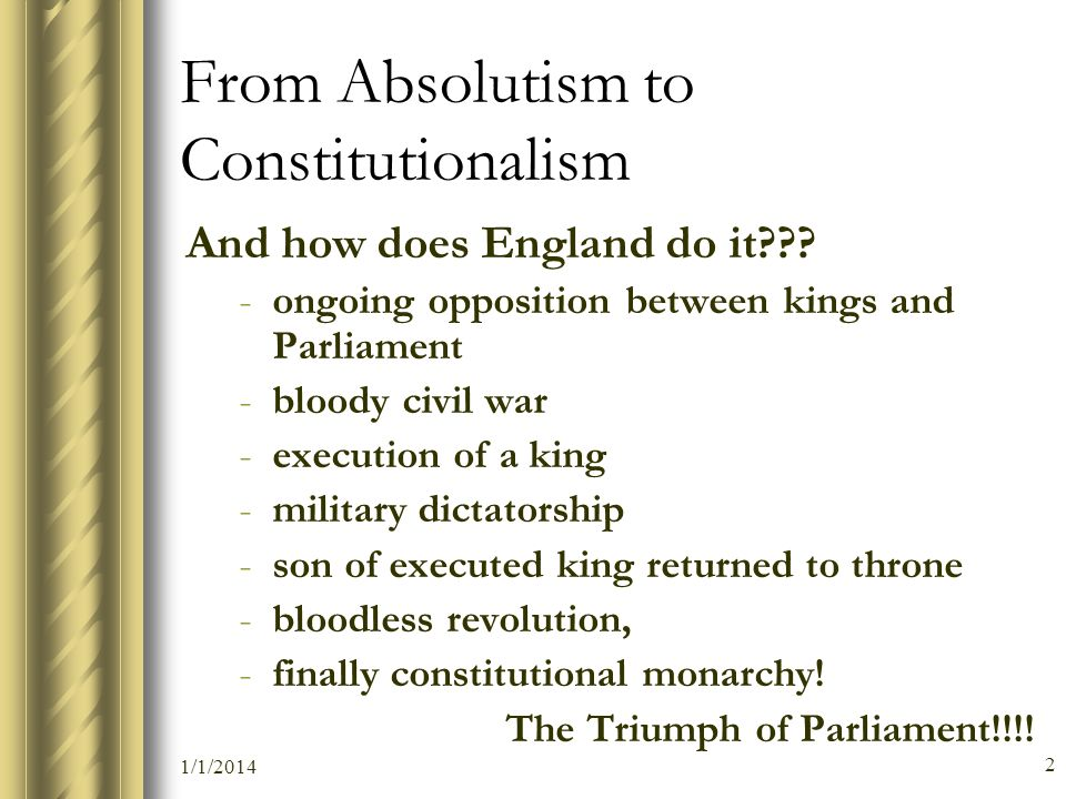 From Absolutism to Constitutionalism
